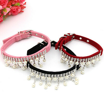 Dog Collars Puppy Cat Lead Pet Dogs Bling Rhinestone Pearls Necklace Adjustable