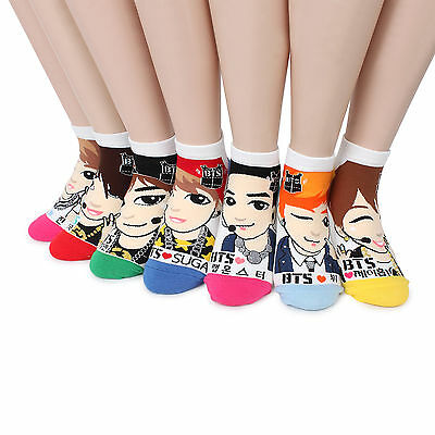 Free Shipping BTS Bangtan Boys Socks (7Pairs) BT21 Merchandise Photo Fashion NB