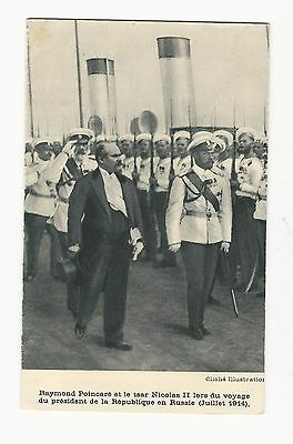Antique Photo Postcard French President Poincaire Russian Tsar Nicholas II 1914
