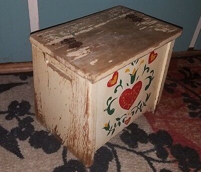 ANTIQUE Old Distressed TOLE Painted Wooden Small Top Opening BENCH/STOOL!