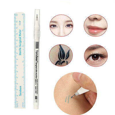 Pro Surgical Skin Marker Pen Ruler Scribe Tool Tattoo Piercing Permanent Makeup