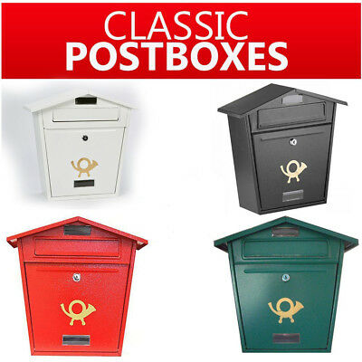 Steel Lockable Post Box Secure Letterbox Mailbox Wall Mounted Vintage Postbox