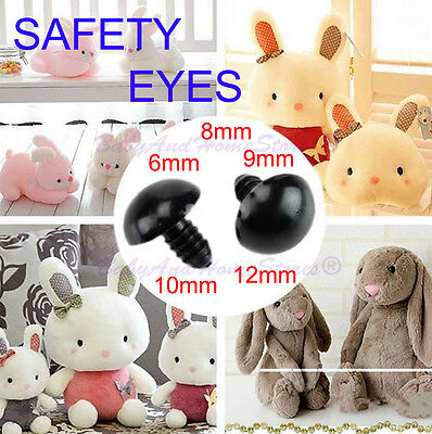 Safety Eyes For Teddy Bear - Size 5mm,6mm, 8mm, 9mm, 10mm, 12mm  20 pc BLACK
