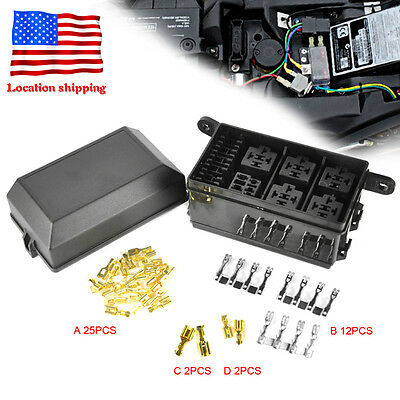 Car ATV Fuse Box 6 Relay Relay Socket Holder 5 Road For The Nacelle Insurance
