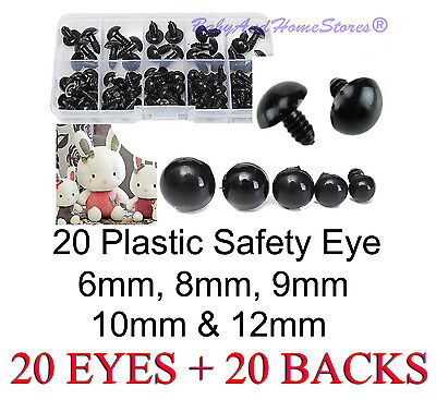 Safety Eye Teddy Bear Making Supplies 6mm, 8mm, 9mm, 10mm, OR 12mm - 20 BLACK