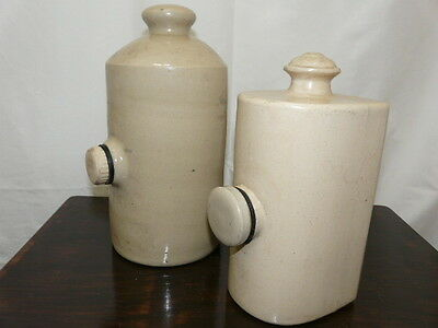 2 x Antique Stoneware Hot Water Bottle Bed Warmers 2pt and 3pt
