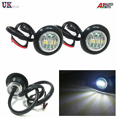 2 x LED White Round Front Side Marker Lights Lamps 12V For Truck Trailer Lorry