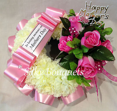 Artificial Silk Rose Funeral Flower Wreath Tribute Grave Mum Nan