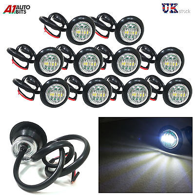10X 24V Outline Round Side Marker Led White Lights Lamps For Lorry Trailer Truck