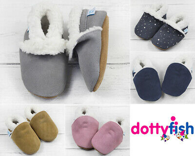 Dotty Fish Suede Baby Slippers. Toddler. Young Kids. Infants. Kids. Fleece Lined