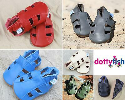 Dotty Fish Soft Leather Baby Sandals With Non-slip Suede Soles For Boy and Girls