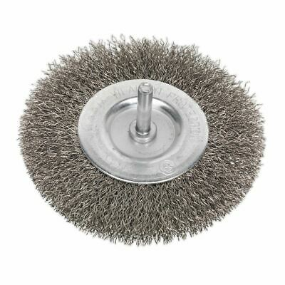 Sealey SFBS100 Flat Wire Brush Stainless Steel 100mm with 6mm Shaft