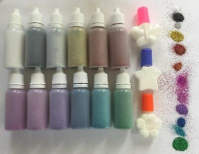 GLITTER TATTOO STARTER SET/KIT 12 POPULAR GLITTER PUFFER BOTTLES & 3 x 5ml GLUES