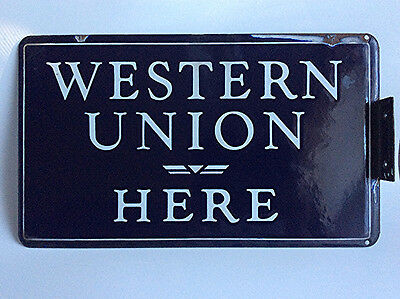 Antique porcelain enamel Western Union Here flange sign double sided