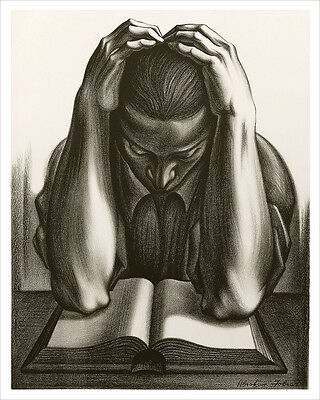 The Reader, Vintage Lithograph Fine Art Print by Abraham Joel Tobias, WPA Artist