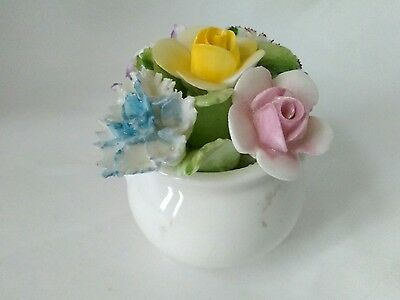 Vintage Miniature Pot Floral Flower, Royal Doulton Crown Fine Bone China