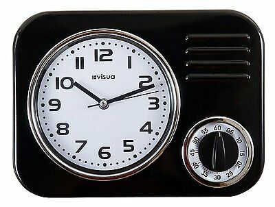 Metal Kitchen Wall Clock • Retro Styling • Mechanical Cooking Timer • Black