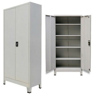 Metal Storage Office Cabinet 2 Door Cupboard 5 Shelves 180cm Tall Furniture Grey