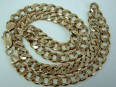 Solid 9Ct Yellow Gold Faceted Curb Linked Chain - 22 Inches - 1.5 Ounces