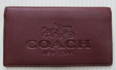 Authentic Coach Pebble Burgundy Leather Checkbook Holder w/ pen loop