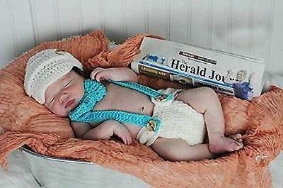 AiXiAng Newborn Infant Baby Photography Prop Handmade Crochet Knitted Blue Su...