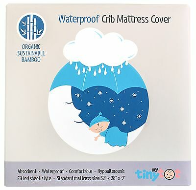 Crib Mattress Protector - Organic Bamboo Fiber Fitted Cover Waterproof Hypoal...