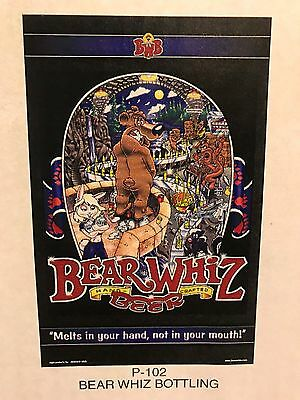 BEAR WHIZ BEER Bottling ~ VINTAGE ~ New Old Stock ~ Poster Advertising Sign P2