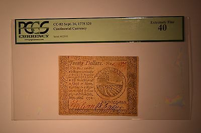 Continental Currency September 26, 1778 $20 PCGS Extremely Fine 40.