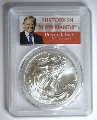 2017 DONALD TRUMP Silver Eagle ASE $1 ~ First Strike PCGS MS-70 item #538