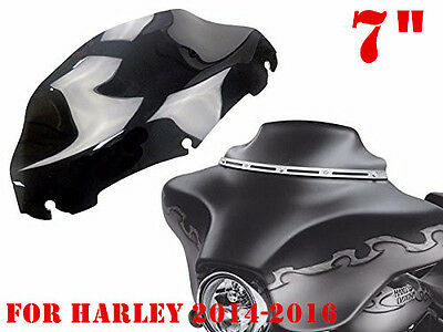 "7"" Dark Smoke Wave Windshield Windscreen For Harley Tri Glide FLHX 2014-2016 zn"