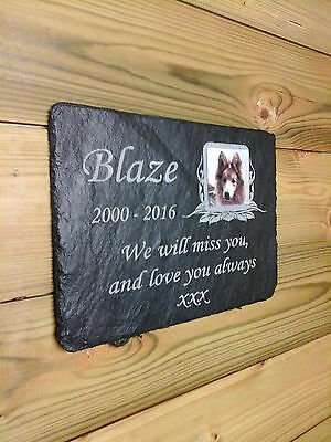 Small, Medium & Large Pet Photo Memorial Slate Personalised Plaque Optional Post