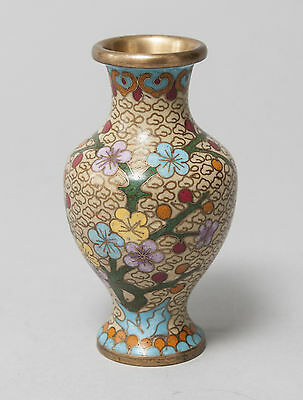 Small Chinese Yellow Ground Cloisonne Vase with Prunus Cherry Blossom Flowers