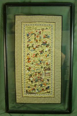 Chinese Embroidered Silk 100 Children Playing Framed 31 x 19 17C003
