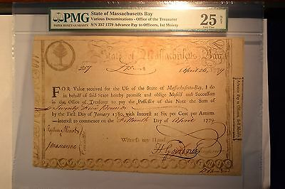 State of Massachusetts Bay  Treasury Certificate April 26, 1779. PMG VF-25 Net.