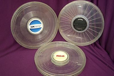 3 Vintage 1970s IBM Data Processing Magnetic Tape Reel Plastic Case Computers