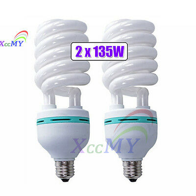 2X135W Photography Studio Daylight Energy Saving Video Light Bulb E27 5500K CFL