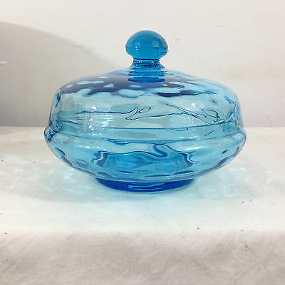 Vintage BEACON GLASS New Jersey Light Blue Glass Covered Candy Dish Box
