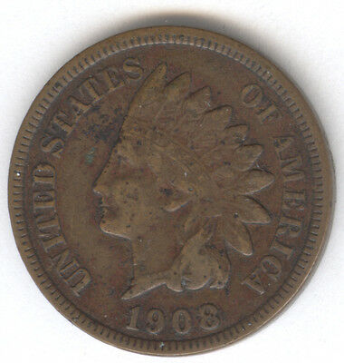 Genuine Key Date 1908-S Indian Head Cent with VF Details