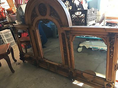 1800's Huge 2pc Sideboard/Buffet W/ Mirror Beautiful! Carved Wood Old Antique