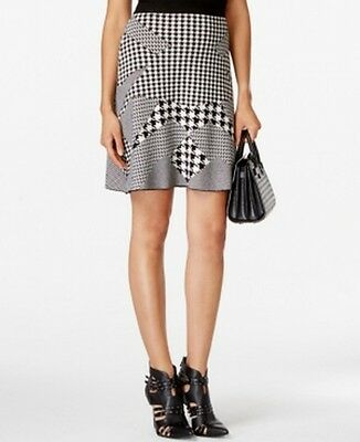Grace Elements NEW Black Womens Size Large L Houndstooth A-Line Skirt $70- 467