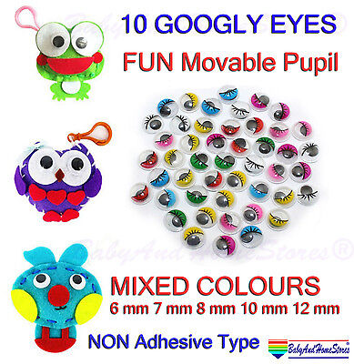 10 GOOGLY Eyes Mixed Colours 4 Teddy Bear Doll Soft Felt Animal Making Supplies