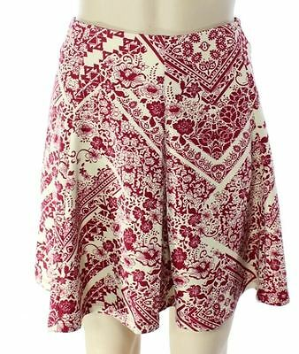 WAYF NEW Red Beige Womens Size Large L Floral Print A-Line Skirt $68 003 DEAL