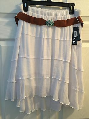 Women's White Gauzey Tiered High/Low Skirt XL