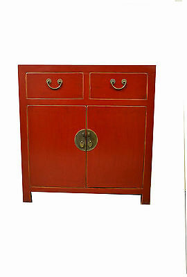 Red Chinese Wooden Storage Cabinet 2 Doors & 2 Drawers 73-16a