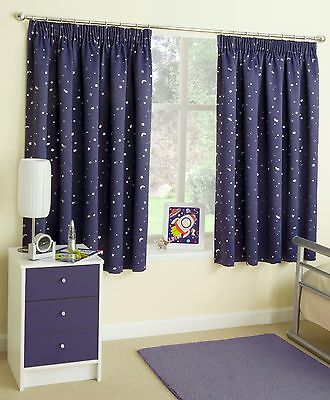 BLUE MOON and STARS MOONLIGHT PENCIL PLEAT TAPE TOP THERMAL BLOCKOUT CURTAINS