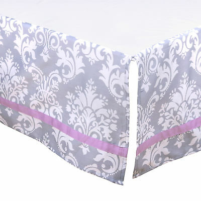 Grey Damask Tailored Crib Dust Ruffle with Purple Accents by The Peanut Shell