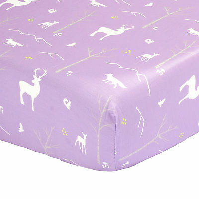 Purple Woodland Fitted Crib Sheet - 100% Cotton Sateen Forest Animal Theme