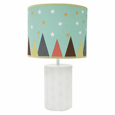 Clever Fox Lamp Base and Shade White Aqua Stars Modern  by Little Haven