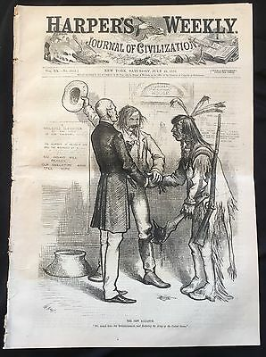 1876 newspaper ILLUSTRATED SITTING BULL BIO Little Big Horn GEN GEORGE A CUSTER