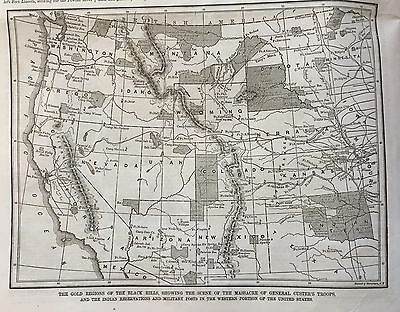 BEST 2 1876  newspapers CUSTER MASSACRE Little Big Horn SITTING BULL Indians MAP